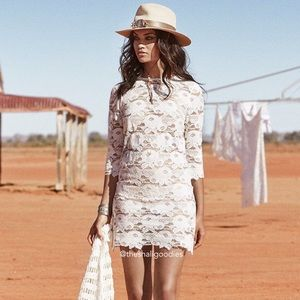 SPELL Rosamond White Lace Mini Dress